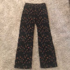 High waisted floral corduroy pants. Anthropologie